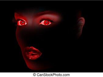 目, 女, 黒, 唇, 赤