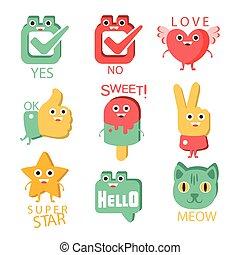 目, 対応する, 項目, set., 特徴, イラスト, 言葉, テキスト, 例証すること, 漫画, emoji