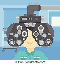 目 検査, イラスト, ベクトル, 患者, の間
