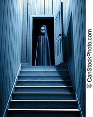 目, 死, ドア, 開いた, 気味悪い, 白熱