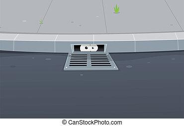 目, 溝, スパイ行為, 中, 舗装, 穴