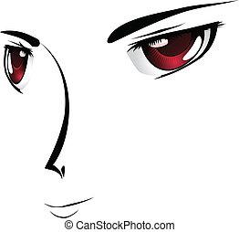 目, 漫画, 赤ら顔