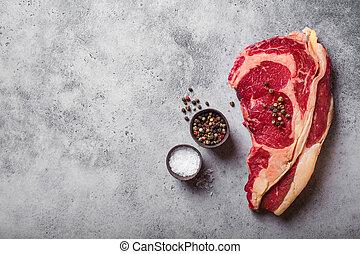 目, 牛肉, 未加工, 大理石模様にされた, ステーキ, あばら骨