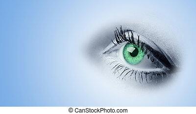 目, 緑, 女性