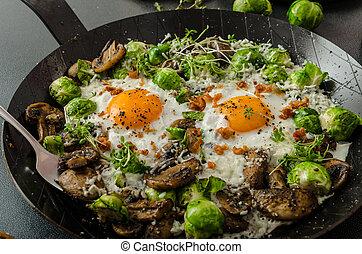 目, 雄牛, オムレツ, 野菜, 芽, 卵