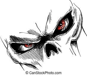 目, 頭骨, イメージ, ベクトル, 漫画, 赤
