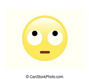 目, 黄色の額面, 回転, 白, 失望させられた, アイコン