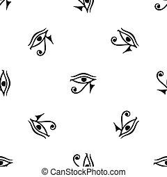 目, horus, エジプト, パターン, seamless, 黒, 神