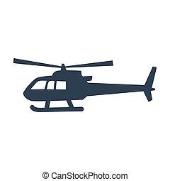 直升机, 白色, 图标, 背景。