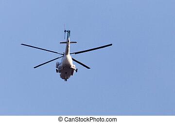直升飛机, 上, a, 藍色的天空