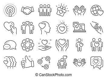 相互作用, 相互, 友情, business., ベクトル, 援助, ラインが好きでありなさい, 理解, icons.