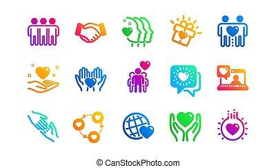相互, ベクトル, icons., 友情, 援助, クラシック, set., business., 相互作用, 愛, 理解