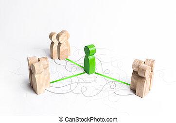 相互, 増加, グループ, 連絡, 対話, 3, 理解, 数字, service., process., 人々。, 調停者, 有効性, 連結する, 緑, establishing, 調停, 交渉