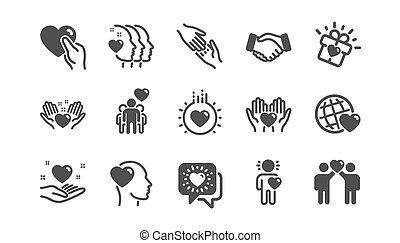 相互, 愛, クラシック, 援助, business., icons., 理解, ベクトル, 相互作用, 友情, set.