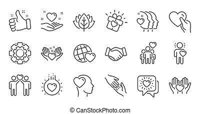 相互, 愛, 線である, 援助, business., icons., 理解, ベクトル, 相互作用, 線, 友情, set.