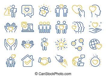 相互, business., 線, 友情, 理解, ベクトル, 愛, 相互作用, icons., 援助