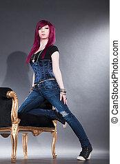 相当, 红头发妇女, 在上, 凳子