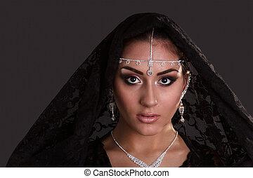 相当, abaya, 东方, 黑色的背景, 妇女