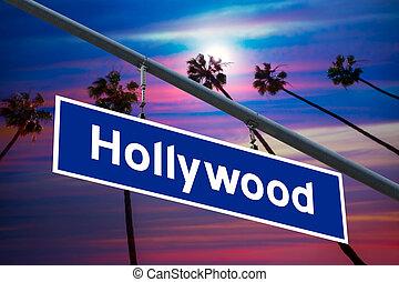 相片, 建立, 天空, 樹, 簽署, redlight, 加利福尼亞, 好萊塢, pam, 路