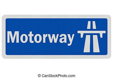 相片, 現實, 詳細, 'motorway', 簽署, 被隔离, 在懷特上
