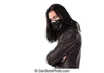 相片, ......的, 人, 在, 皮革上衣, 以及, 面罩