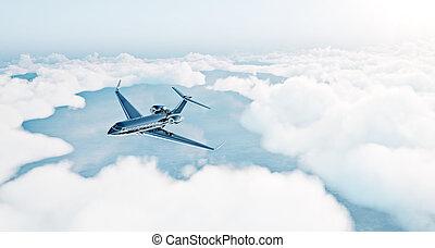 相片, ......的, 黑色, 豪華, 一般, 設計, 私人噴气式飛机, 飛行結束, the, earth., 空, 藍色的天空, 由于, 白色的云霧, 在, 背景。, 企業 旅行, concept., 水平, ., 3d, rendering