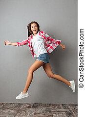 相片, 跳躍, 穿戴, 全長, 感情, 女孩, 暫存工