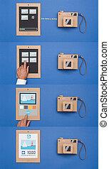 相片, 進口, 從, a, 照像機, 以及, 文件分享, 在網上