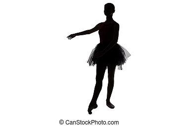 相片, -, 黑色半面畫像, ......的, 年輕, 跳舞, 芭蕾舞女演員