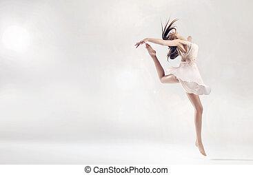 相當, 女性, 芭蕾舞舞蹈演員, 在, 跳躍, 圖