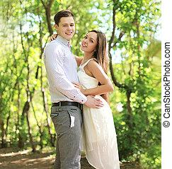相當, 年輕夫婦, 在愛過程中, 享用, 夏季時間