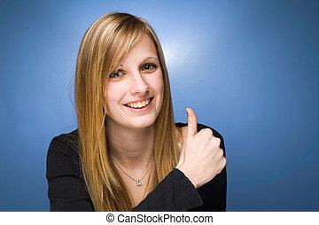 相當, 年輕, 白膚金發碧眼的人, 顯示, 大, 拇指, 向上。