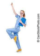 相當, 跳舞, 醫生, 在, 藍色的制服, 由于, 文件, 被隔离, 在懷特上