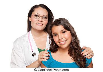 相當, hispanic, 女孩, 以及, 女性 醫生