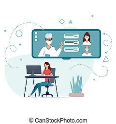 相談, オンラインで, quarantine., 接続, 滞在, あなたの, の間, 医者。, 検疫, coronavirus., 家