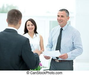 相談, 署名される, プレゼント, クライアント, 契約, 法的