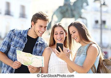 相談, 観光客, 3, 電話, 友人, 痛みなさい, gps