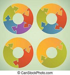 相象, ?ircle, 難題, 圖表, infographic, locks., 箭