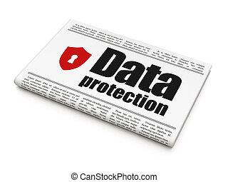 盾, 保護, 鎖眼, 報紙, 新聞, 安全, 數据, concept: