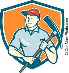 盾, 工人, pickaxe, 建设, 握住, 卡通漫画