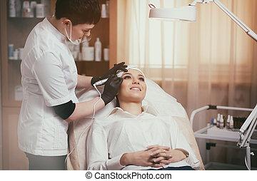 眉毛, 作りなさい, cosmetologist, eyebrows-, 永久である, の上, 適用, 入れ墨