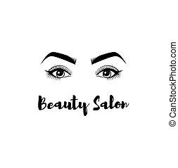 眉毛, 大広間, badge., 美しさ, まつげ, makeup., s, ベクトル, イラスト, eyes.,...