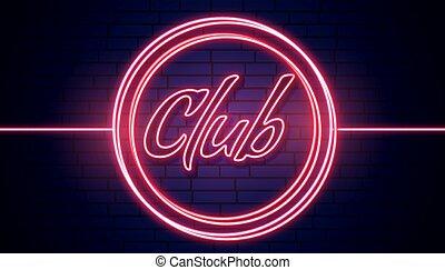 看板, ネオン, クラブ, ライト, 赤い背景