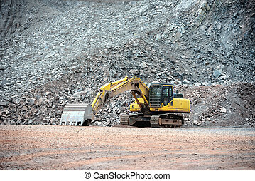 看法, 在, a, 采石場, 礦, 由于, 挖掘機