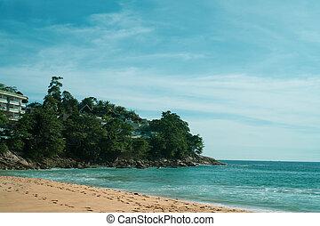 看法, 從, 海灘, 上, 旅館