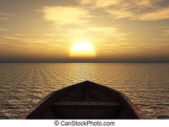 看法, 從, a, 小船
