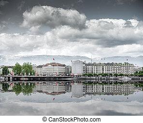 看法, ......的, 城市, 日內瓦, the, leman, 湖