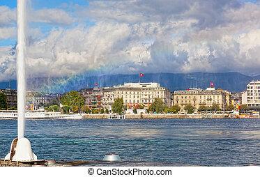 看法, ......的, 城市, ......的, 日內瓦, the, leman, 湖, 以及, the, 水注, 在, 瑞士, 歐洲