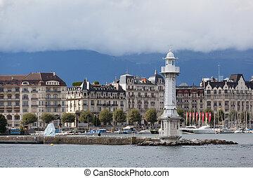 看法, ......的, 城市, ......的, 日內瓦, the, leman, 湖, 在, 瑞士, 歐洲
