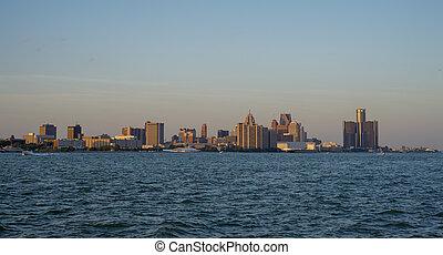 看法, ......的, 市區, 底特律, 地平線, 以及, 河, 在, 傍晚, a